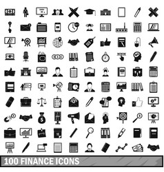 100 finance icons set simple style vector image