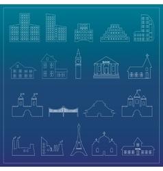 Buildings flat design web icons set vector image