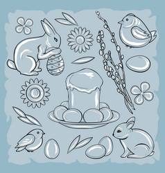 easter set with rabbit chicken easter cake vector image vector image