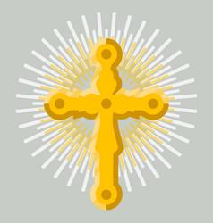 golden orthodox cross icon isolated vector image