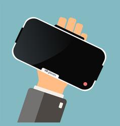Hand hold virtual reality glasses buying virtual vector