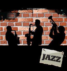Jazz musicians - Brick wall background vector image