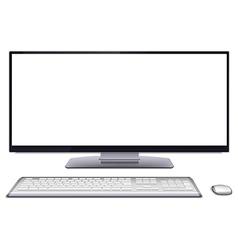 Modern desktop computer with blank screen vector image vector image