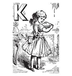 alphabet k kept it vintage vector image