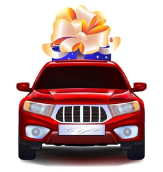 Auto with a gift in the trunk vector image