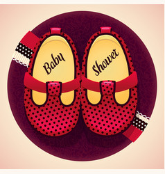 baby shower baby girl red shoes and box vector image