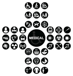 Black Medical and health care Icon collection vector image vector image