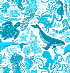 blue underwater sea life boundless background vector image vector image