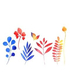 set of watercolor plants vector image vector image