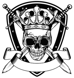 skull in crown board and crossed swords vector image vector image