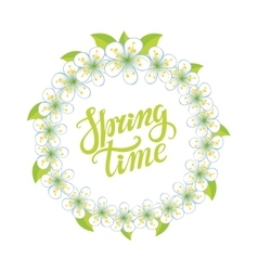 Spring time letteringCherry flowers circle wreath vector image