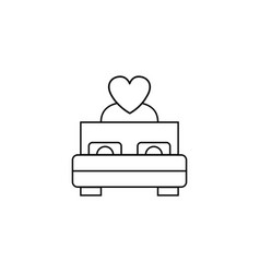 Bed with heart line icon couple making love vector