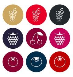 berries icon set in muted tones vector image