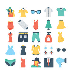 fashion and clothes colored icons 6 vector image vector image