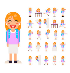 pupil girl school children student in different vector image