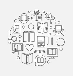reading and education round vector image