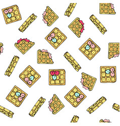 seamless pattern with doodle sweet waffles vector image