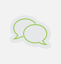 simple green icon - two outline speech bubbles vector image vector image