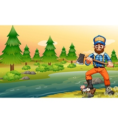 A woodman near the river vector