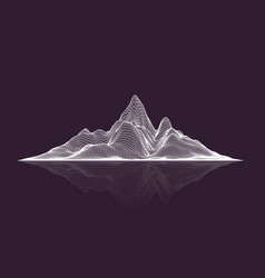 abstract wireframe mesh mountains with reflection vector image