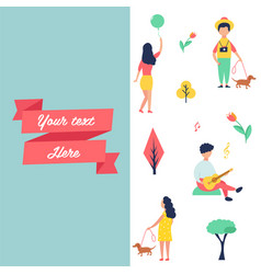 Banner with people at park resting and having fun vector