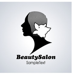 beauty salon icon silhouette girl with flower vector image