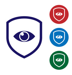 blue shield and eye icon isolated on white vector image