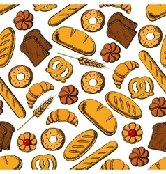 Bread and sweet buns seamless pattern backgorund vector image