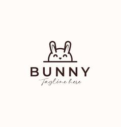 bunny rabbit monoline logo concept isolated vector image