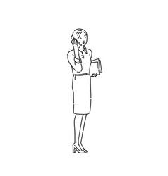 Business woman talking on phone line art style vector