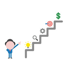 businessman character pointing top of stairs vector image