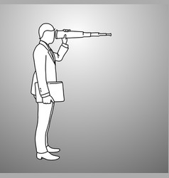 Businessman looking through binoculars with wrong vector
