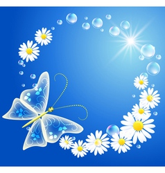 butterfly bubbles and flowers vector image