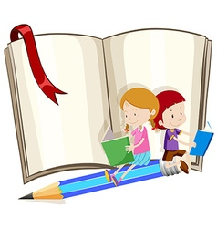 Children reading book together vector