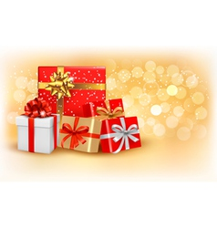 Christmas gold background with gift box and vector image