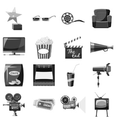 Cinema icons set gray monochrome style vector image