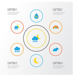 Climate flat icons set collection of snow vector