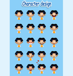 Collection of cartoon boy facial emotions vector