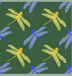 colorful stilized dragonfly on green background vector image