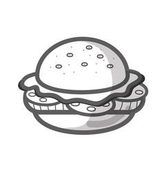 contour delicious hamburger fast food icon vector image
