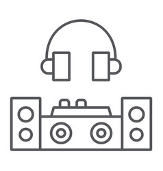 dj thin line icon party and music dj mixer sign vector image
