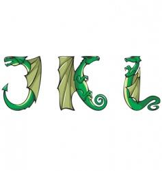Dragons Alphabet jkl vector