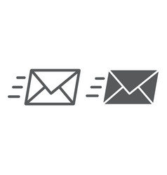 email line and glyph icon business and address vector image