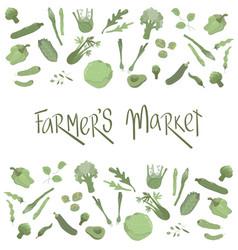 Farmers market handwritten sign with flat green vector