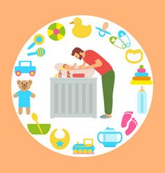 father bathing newborn child toys and supplies vector image
