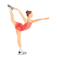 Figure skater girl in short red dress skating vector