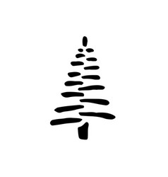 Fir black icon tree silhouette flat isolated vector