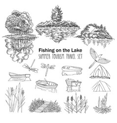Fishing on the lake background with boat vector
