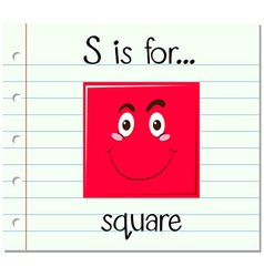 Flashcard letter S is for square vector