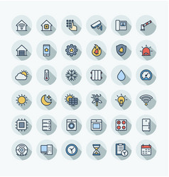 Flat color thin line icons set with home vector